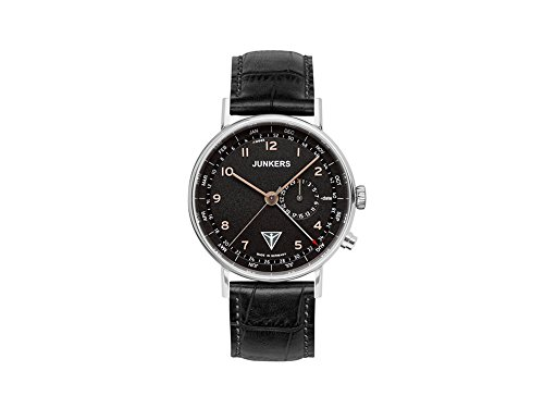 Junkers Men's Quartz Watch with Black Dial Analogue Display Quartz Leather 67345