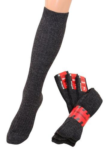 Chaussettes hautes en laine pour chaussettes hautes en laine avec plüschsohle chauds, gris, 3 paires Gris Anthrazyt 43/46