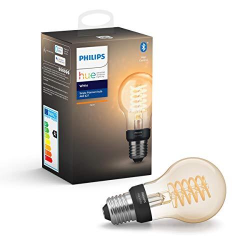 Philips Hue Ampoule LED Connectée White Filament E27 Forme Standard, Compatible Bluetooth 9 W, Fonctionne avec Alexa