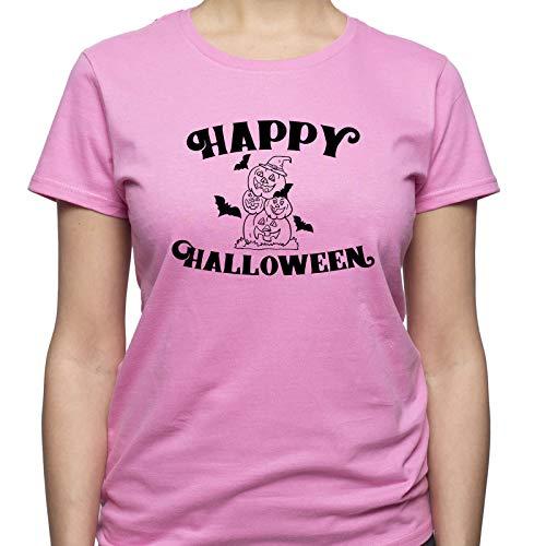 EUGINE DREAM Happy Halloween Hocus Pocus Damen T-Shirt Rosa XXL (Halloween Pocus Hocus Happy)