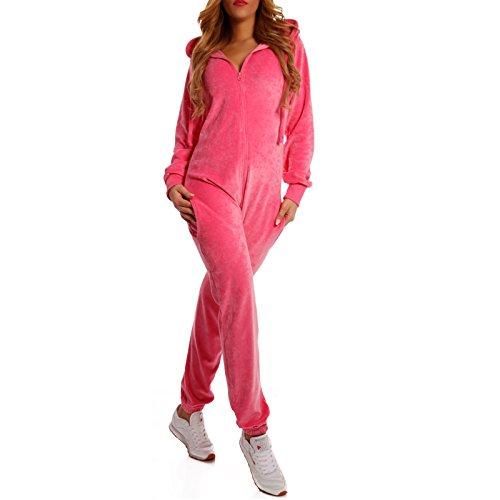 Crazy Age Damen Jumpsuit aus Samt (Nicki, Velvet) Wohlfühlen mit Style. Elegant, Kuschelig, Weich. Overall, Ganzkörperanzug, Jogging - Freizeit Anzug, Onesie (Pink, M)