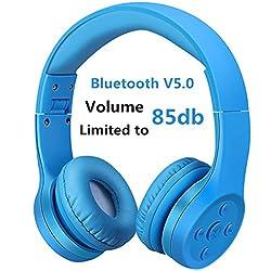 Bluetooth Kopfhörer für Kinder, Hisonic kinderkopfhörer Faltbar, einstellbar, 85 dB Lautstärke begrenzt, AUX 3,5 mm Klinke, eingebautes Mikrofon für Junge und Mädchen. (Blau 01)