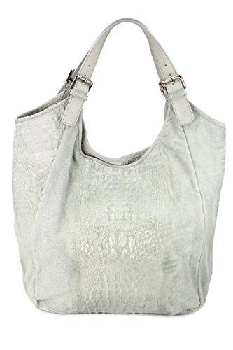 ® belli sac à shopping en cuir xXL étui de protection en cuir croco mix couleur au choix :  46 x 34 (au milieu) x 14 cm (l x h x p) Gris - Gris clair