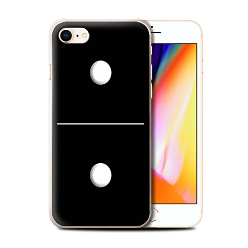 Stuff4 Hülle / Case für Apple iPhone 8 / Schwarz Kachel 1/4 Muster / Domino/Dominos Kollektion Schwarz Kachel 1/1