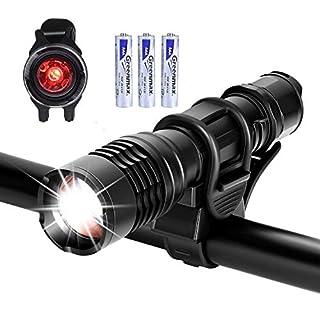 Akale LED Bike Lights, Super Bright Bike Light Set, 900 Lumen, 5 Light Modes, LED Bicycle Lights, Easy to Mount Headlight front bike light with Back Tail lights