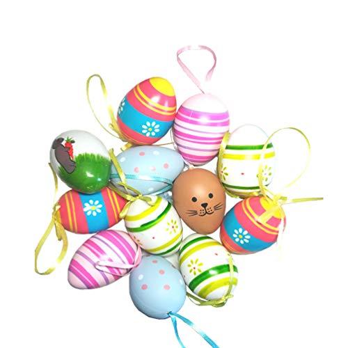 Adornos de huevo de Pascua Tamaño del huevo: 6 cm x 4 cm Material: Plástico Color: como muestra la imagen, (12pcs: incluye 2pc * 6 de color diferente; 24pcs: incluye 4pcs * 6 de color diferente) Perfecto para decoraciones de mesa de Pascua y decoraci...