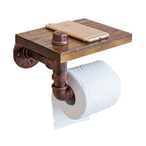 JH Massivholz Rollenhalter Retro-WC Metall Papier Handtuchhalter Bad Schmiedeeisen Rack Wand hängen Lagerregal (Color : A, Size : 20*15*15cm) (Wc-papier Schmiedeeisen)