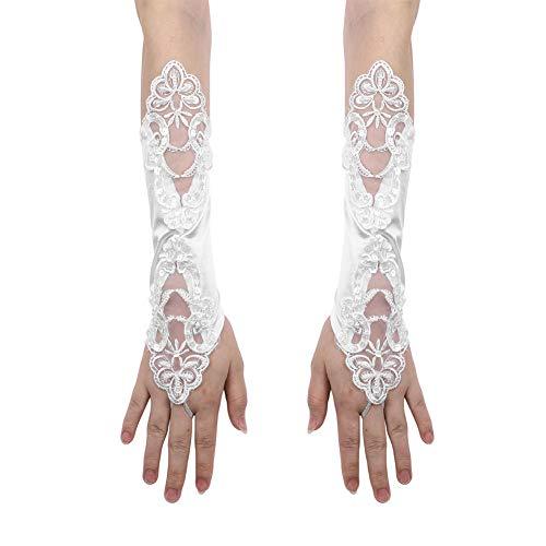 ndschuhe Netzhandschuhe Spitze Handschuhe Ellenbogen Lang Fingerlos Handschuhe Sommer Sonnenschutz Handchuhe Blumen Mädchenhandschuhe für Oper Hochzeit Party Karneval Tanzen ()