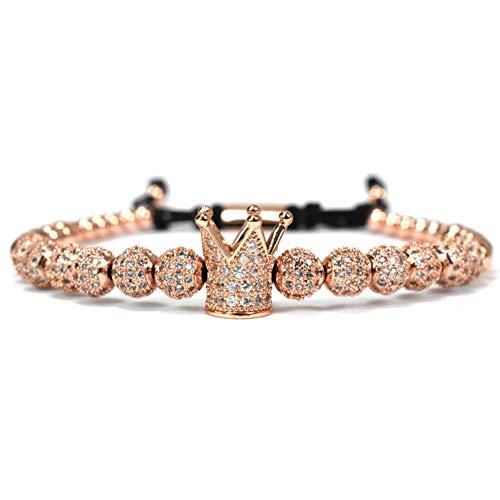 YCWDCS Armband Perlen Charms Armband Männer Schmuck Flechten Macrame King Crown Armbänder Für Frauen Pulseira Masculina Feminina