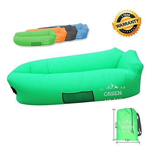 Orsen Aufblasbare Liegetragbar Airbag AirBetten Schlafen Sofa Couch, für Reisen, Camping, Strand, Park, Backyard,Hinterhof (Grün)