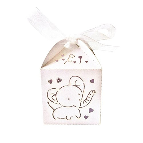 ochzeit Gastgeschenk Schachtel Party Geschenkbox mit Band (Weißes Herz Elefant) ()