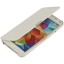 Funda Samsung Galaxy S5, MTRONX Cover Carcasa Case Caso Ultra Folio Flip Cuero Delgado Piel con Cierre Magnetico para Samsung Galaxy S5 - Blanco (MG-WH)