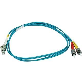 10Gb Fiber Optic Cable, LC/ST, Multi Mode, Duplex - 1 Meter (50/125 Type) - Aqua