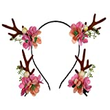 Nettes Weihnachtsstirnband mit Geweih und Blumen blühen Haarband mit 2 Geweih-Haarspangen Headpiece für Weihnachtsneuheits-Party-Geschenke (Style 4)