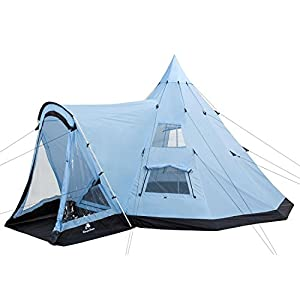 campfeuer - tipi teepee - tent, with porch, light-blue/black