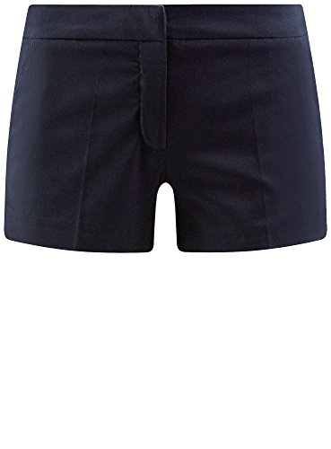 oodji Ultra Damen Baumwoll-Shorts Basic Blau (7900N)