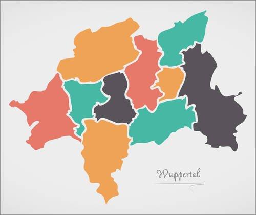 Leinwandbild 110 x 90 cm: Wuppertal Stadt Landkarte modern abstrakt mit runden Formen von Ingo...