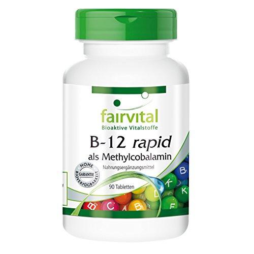 Fairvital B-12 rapid als Methylcobalamin, vegan, Vitamin B12 500µg mit Folsäure, Biotin, Vitamin B6 & Bioflavonoiden, 90 Sublingual-Tabletten mit Acerola-Geschmack - für mehr Energie und starke Nerven Test