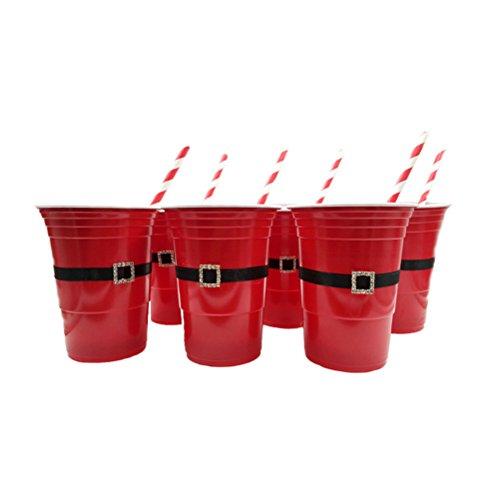 STOBOK 6 stücke Weihnachten Becher Partybecher Plastikbecher Kunststoffbecher Trinkbecher Wiederverwendbare Stapelbar für Kinder Kaffee Bier Getränk