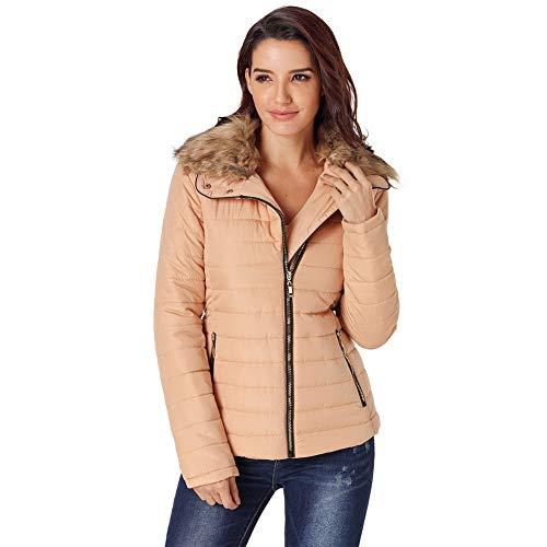 YTFAIFEN Damen Mantel mit Kunstfellkragen, langärmelig, schmale Passform, Übergröße, Baumwolle 6