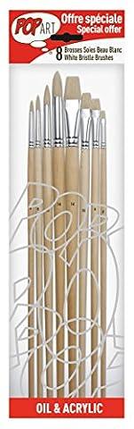 Pébéo 950150 Pochette de 8 Pinceaux Manche Longue Soies Beau Blanc