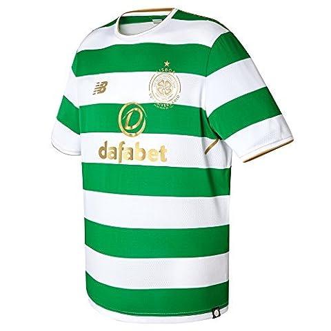 New Balance Celtic FC 2017/18 Mens Home Football Shirt White/Green - L