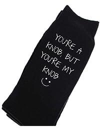 You're A Knob But You're My Knob Socks Black Calf Socks Husband Boyfriend Christmas Valentines Socks Birthday Mens Present