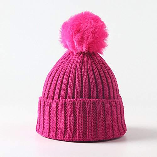 Huichao Bonnet Enfant 5 Couleurs, Bonnet en Tricot d'automne et d'hiver, Bonnet Chaud,rosered