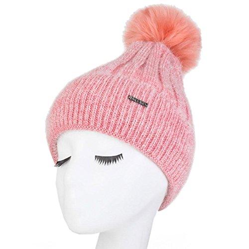 MAOXZI Women's Faux fur Winter Warm Knit Knitted Bobble Pom Beanie Bobble Baggy Crochet Ski Hüte Mützen, pink (Winter Crochet Hüte Womens)