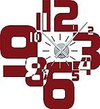 Wandtattoo Wanduhr, modernes Design mit Zahlen in verschiedenen Größen (ideal für Wohnzimmer), dunkelrot, Uhr Silber