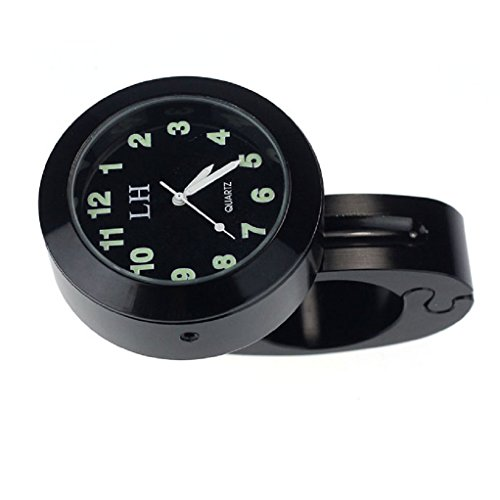 Motorrad Lenker - TOOGOO(R) Motorrad Zubehoer Lenker wasserdichte Uhr (schwarz)