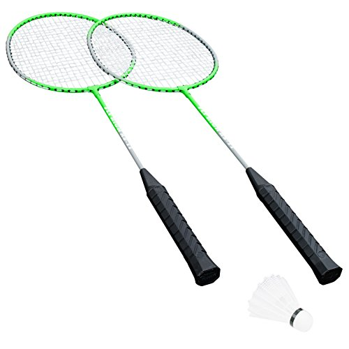 HUDORA Badmintonset Fly High HD-11 2 Schläger und 2 Bälle Federball Badminton Federballspiel