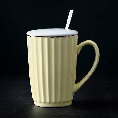 MIC-moonjack Keramiktasse Becher Paar Milch Kaffeetasse Mit Deckel LöFfel 320 Ml In Hochwertiger QualitäT Keramiktasse Mit Deckel In Hochwertiger QualitäT Retro Kaffee Becher @Hellgelb