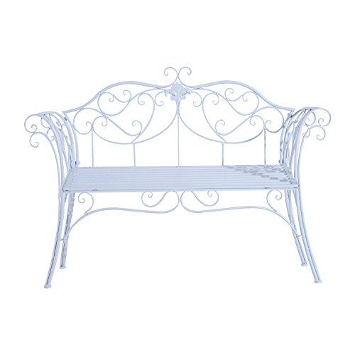 Outsunny Panca da Giardino Panchina Biposto Esterno Metallo 134 × 51 × 89cm Bianco