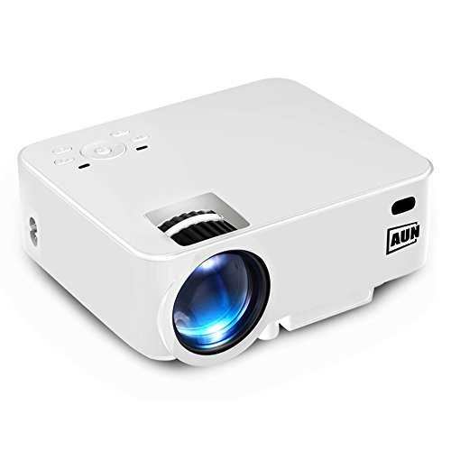 AUN 2 in 1 Android Projector + TV Box Set 1500 Lumens LED Projector WIFI Bluetooth Support DLNA Airplay AC3 for Home Cinema Theater Entertainment (White)