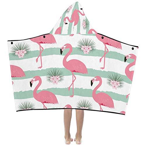 Flamingo Oiseaux Été Rose Doux Chaud Coton Mélangé Enfants Dress Up Capuche Couverture Serviettes De Bain Throw Wrap Pour Tout-Petits Enfant Filles Garçons Taille Accueil Voyage Pique-Nique Sommeil