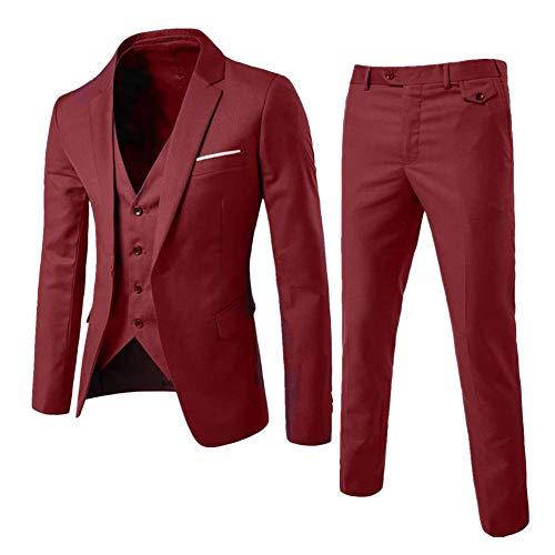 Yanlian Herren Anzug Slim Fit 3 Teilig mit Weste Sakko Anzughose Business Smoking von Harrms Weinrot L