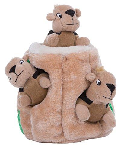 Outward Hound Kyjen 31003 Hide A Squirrel Plüsch Hundespielzeug Quietschspielzeug 4-teilig, Größe Jumbo, Braun