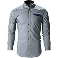 Tryme Fashion Men's Cotton Casual Shirt for Men Full Sleeves (Grey, Large - 42)