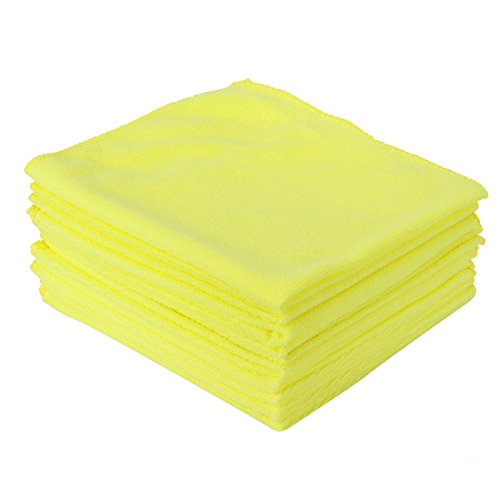 SurePromise Car Auto Towel Microfibre Cleaning Cloths Large Super Soft Dusters Machine Washable Lintfree 10pcs for Homes Kitchens Cars Motorbikes Domestic Industrial Cleaning 40x40cm (Yellow)