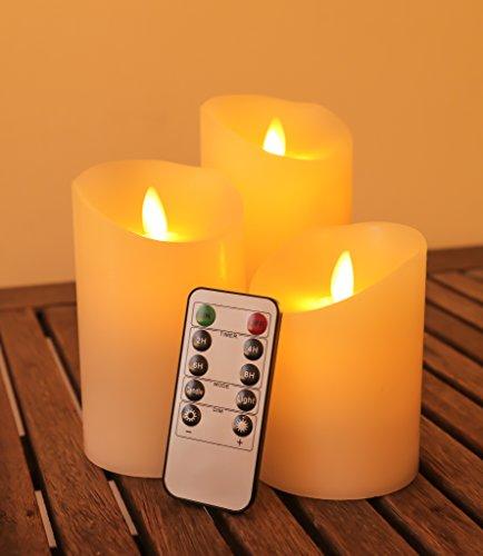 Preisvergleich Produktbild LED Kerzen 3er Set 'ZenEssence' mit Fernbedienung und 24 StundenTimer - Echtwachskerzen mit beweglicher Flamme - Täuschend echte flackernde und dimmbare LED Flamme - Für Dekoration,  Hochzeiten,  Restaurants