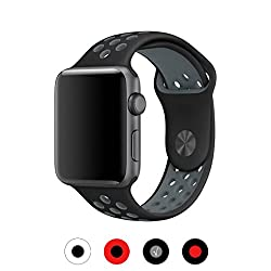 Zoneyila For Apple Watch Band,38mm Soft Silicone Replacement Band With Ventilation Holes For Apple Watch Series 3 Series 2, Series 1,sport, Edition, Ml Size(38mm, Blackgrey)