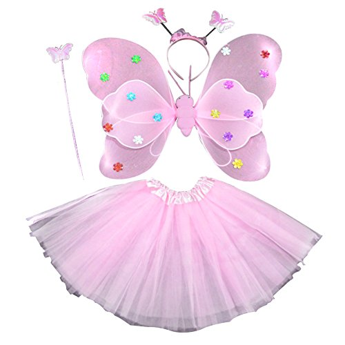 �dchen 4PCS Fee Schmetterling Stirnband Tutu Rock Halloween Party Kostüm Set (Schmetterlings-kostüm Halloween)