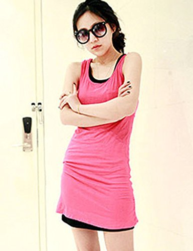 Bestgift Damen Tank Top Lang West Modal Basic Shirt Tops Rose Rot