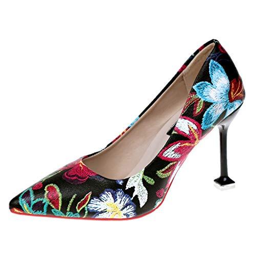 Wawer Damen Sommer 2019 Mode Floral Print Spitze Lackleder Kleid-Partei Hochzeit Pumps Absatz Schnalle Pumps Schuhe Floral Print Wedge