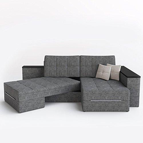 Ecksofa mit Schlaffunktion Eckcouch Sofa Couch Schlafsofa Relax Funktion Grau (Rotationsfunktion: Links) - 5