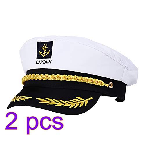 nstellbare Yacht Kapitänshut Sailors Sea Cap Navy Kapitänshut Erwachsene Sailor Cosplay Kostüm Zubehör (Weiß) ()