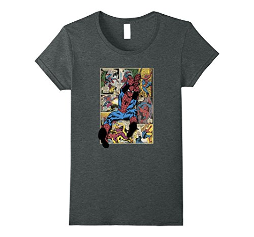 Womens Spider-Man Comic-Buch Seite Print Grafik T-Shirt gro?e dunkle Heather (Dunklen T-shirt Bücher)