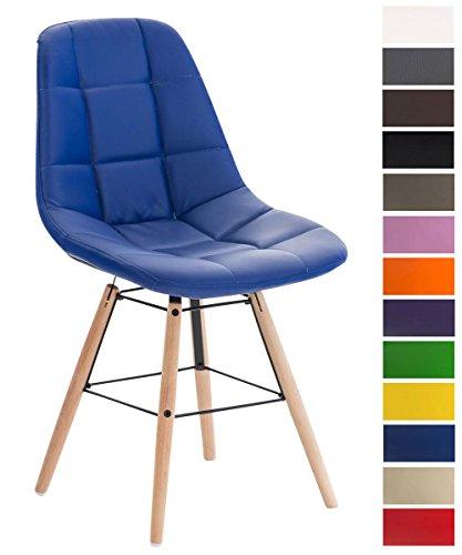 Clp sedia da pranzo tammy in similpelle  sedia design con telaio legno di faggio   sedia moderna trapuntata blu