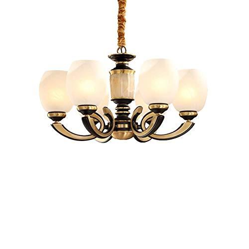 Kronleuchter Wohnzimmer Schlafzimmer Lampe moderne minimalistische All-Kupfer europäischen Retro-Atmosphäre Jade Lampen (Farbe: monochromatische Lichtquelle)